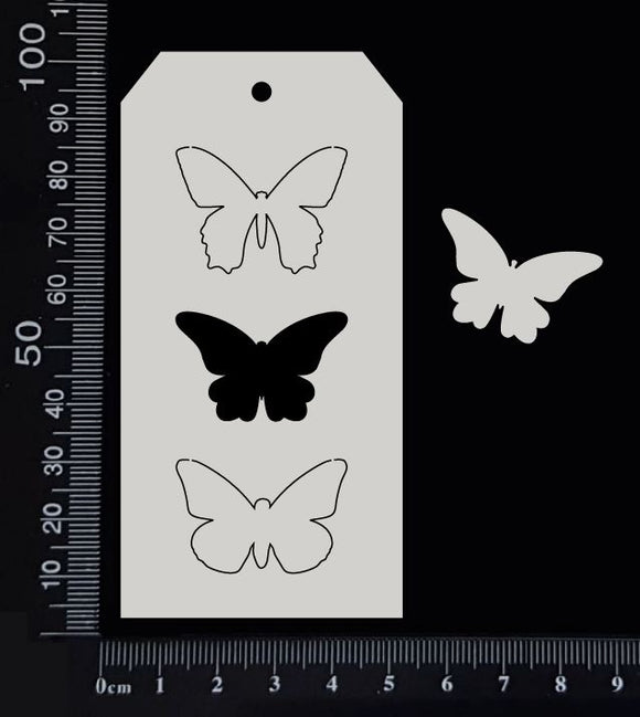 Tag of Elements - Butterflies - C - White Chipboard