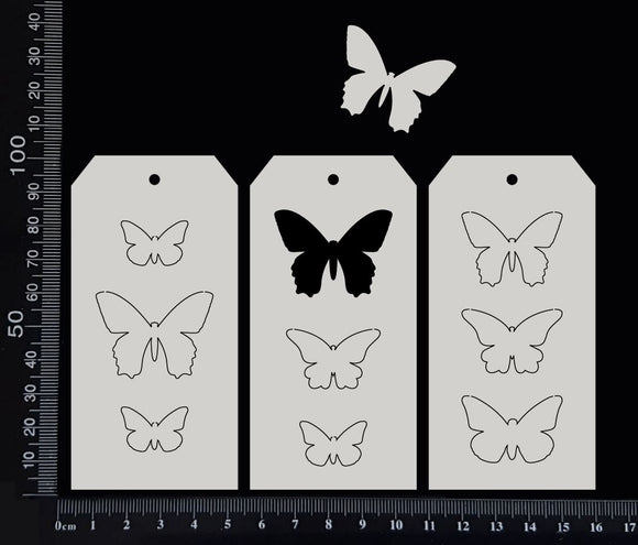 Tag of Elements - Butterflies - Set - White Chipboard