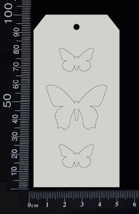 Tag of Elements - Butterflies - Engraved - D - White Chipboard