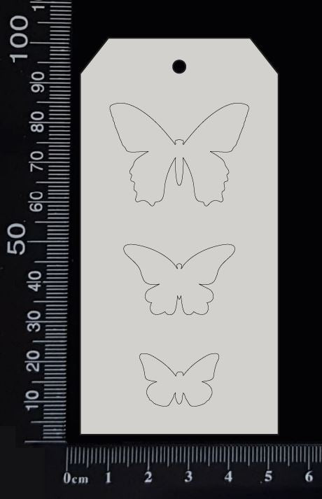 Tag of Elements - Butterflies - Engraved - E - White Chipboard