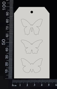 Tag of Elements - Butterflies - Engraved - F - White Chipboard