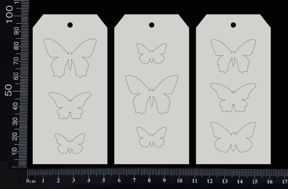 Tag of Elements - Butterflies - Engraved - Set - White Chipboard