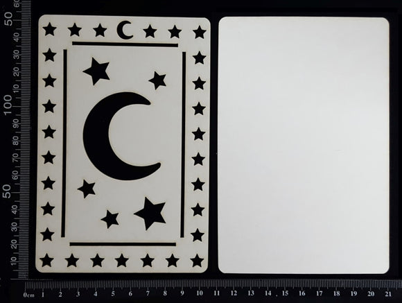 Tarot Card - Moon - A - Large - Layering Set - White Chipboard