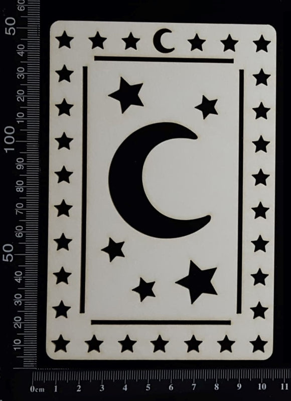 Tarot Card - Moon - A - Large - White Chipboard