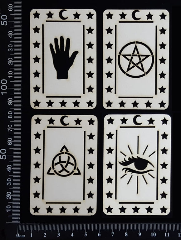 Tarot Card Set - K - Small - White Chipboard