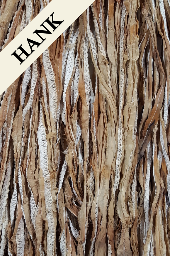 Reclaimed Sari Silk Ribbon - Tattered Tea Dye - Hank