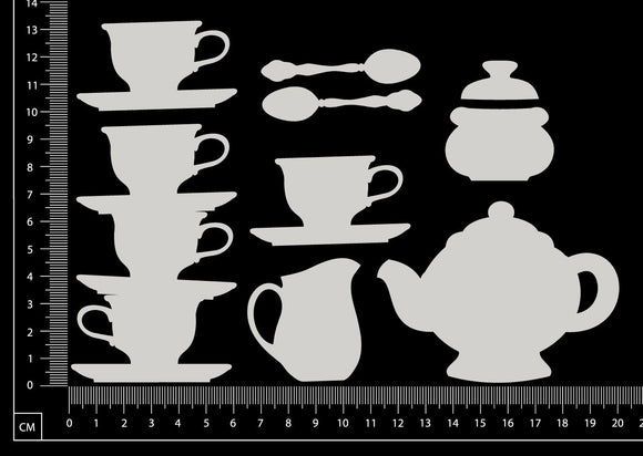 Tea Set - Large - White Chipboard