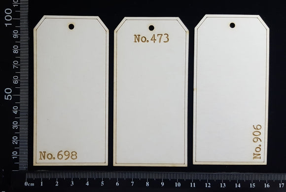 The Collector Tag Set - Small - Numbers - A - White Chipboard