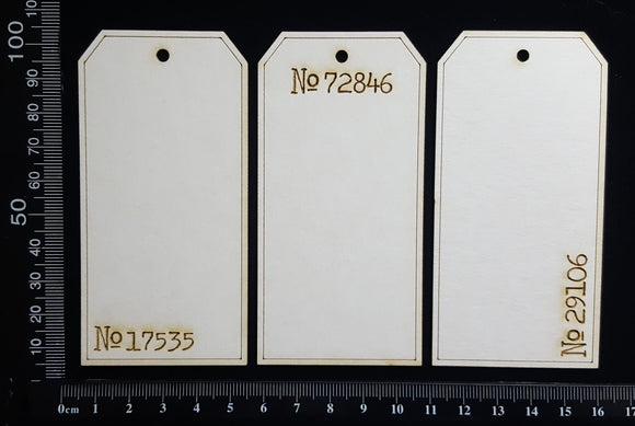 The Collector Tag Set - Small - Numbers - B - White Chipboard