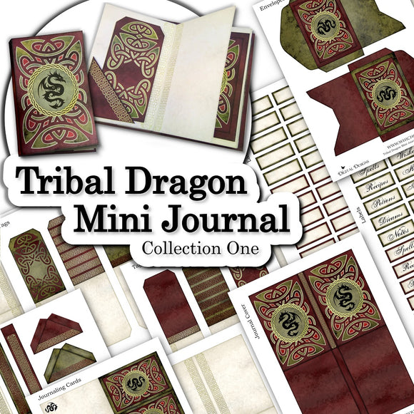 Tribal Dragon Mini Journal - Collection One - DI-10069 - Digital Download