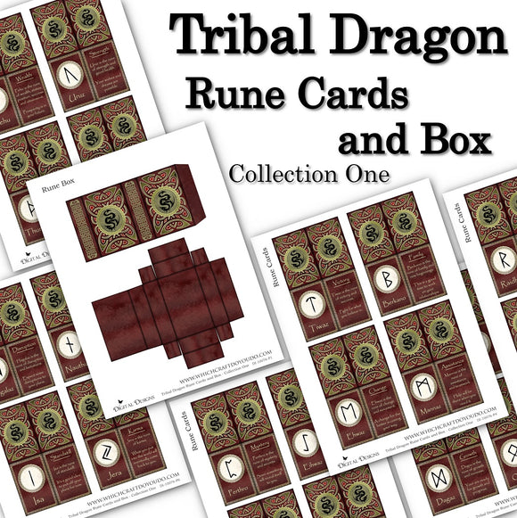 Tribal Dragon Rune Cards and Box - Collection One - DI-10076 - Digital Download