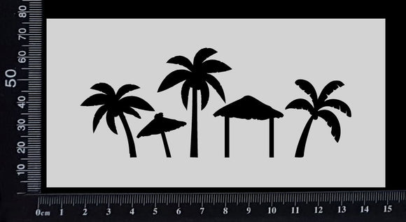 Tropical Scene - Stencil - 75mm x 150mm