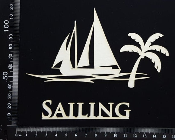 Tropical Scene - Sailing - White Chipboard