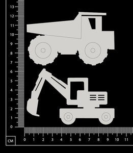 Truck and Digger - White Chipboard