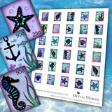 Under The Sea Collection - Faux Postage Stamps - Set One - DI-10071 - Digital Download