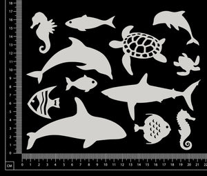 Underwater Animals Set - White Chipboard