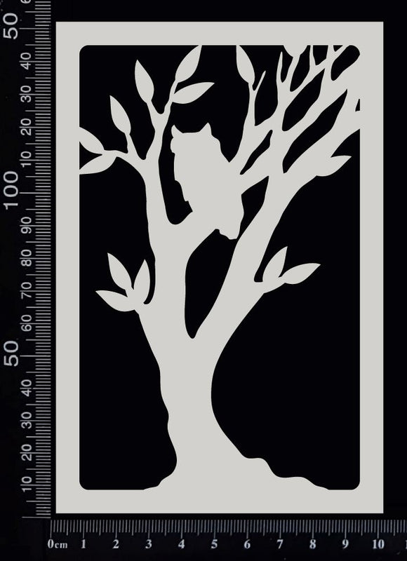 Scenic Frame - Owl in a Tree - White Chipboard