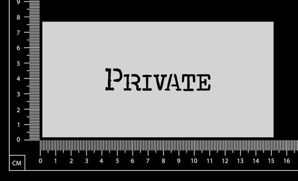 Vintage Word - Private - Stencil - 75mm x 150mm