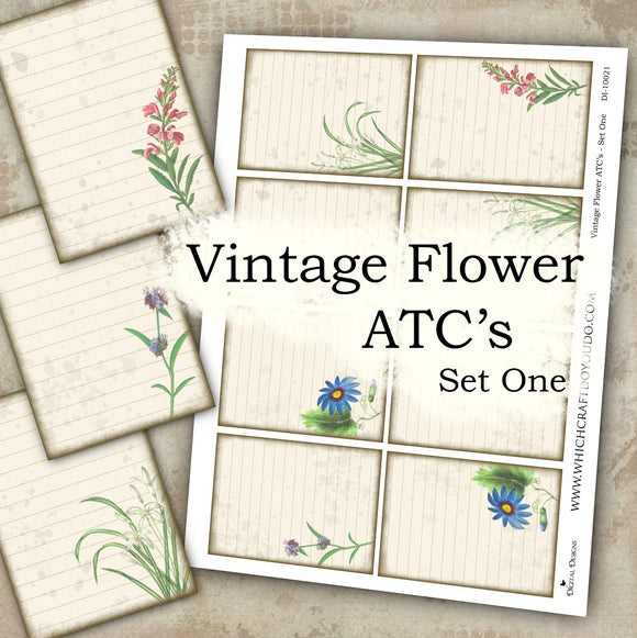 Vintage Flower ATC's - Set One - DI-10021 - Digital Download