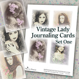Vintage Lady Journaling Cards - Set One - DI-10072 - Digital Download