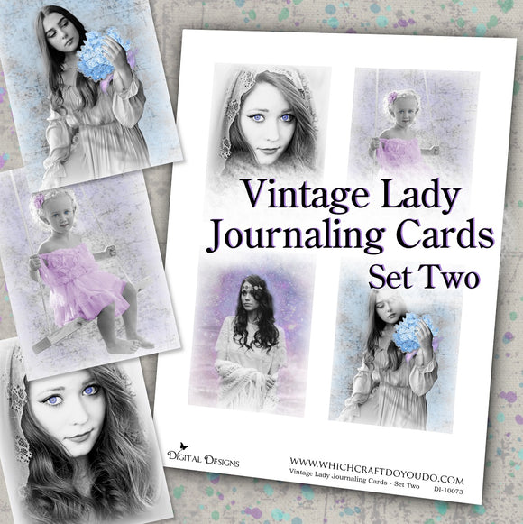 Vintage Lady Journaling Cards - Set Two - DI-10073 - Digital Download
