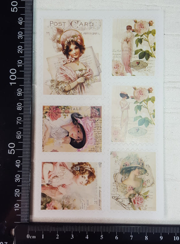 Vintage Stamp Sticker Sheet - A