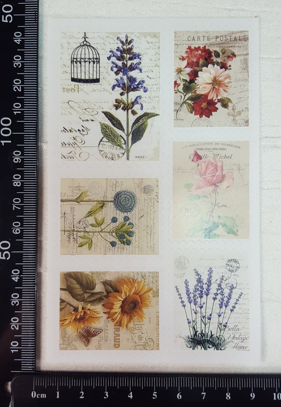 Vintage Stamp Sticker Sheet - C