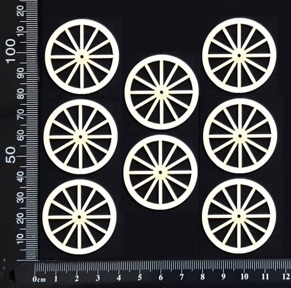 Wagon Wheel Set - AC - Small - White Chipboard