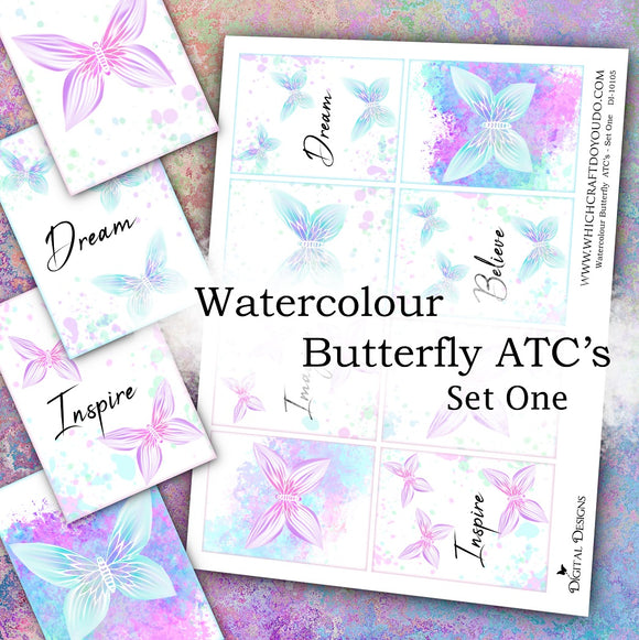 Watercolour Butterfly ATC's - Set One - DI-10105 - Digital Download