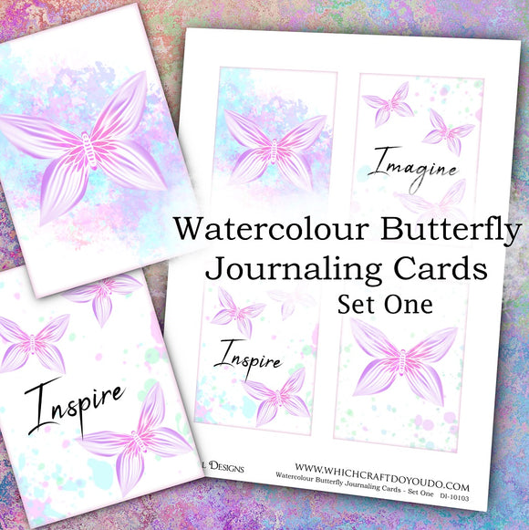 Watercolour Butterfly Journaling Cards - Set One - DI-10103 - Digital Download