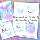 Watercolour Butterfly Journaling Cards - Set Two - DI-10104 - Digital Download