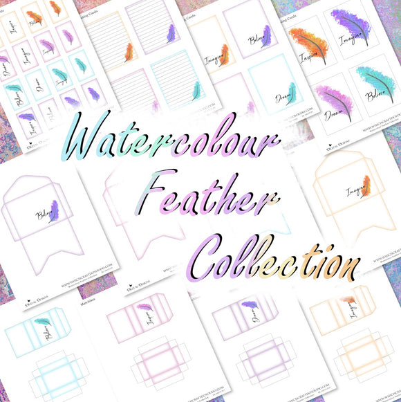Watercolour Feather Collection - DI-10019 - Digital Download