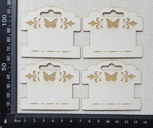 Laser Engraved Detailed Bobbins - Set of 4 - Small - White Chipboard