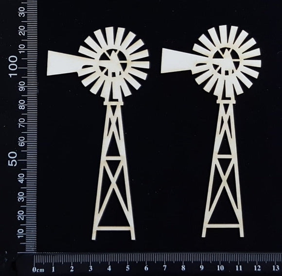 Windmills - A - Small - Set of 2 - White Chipboard