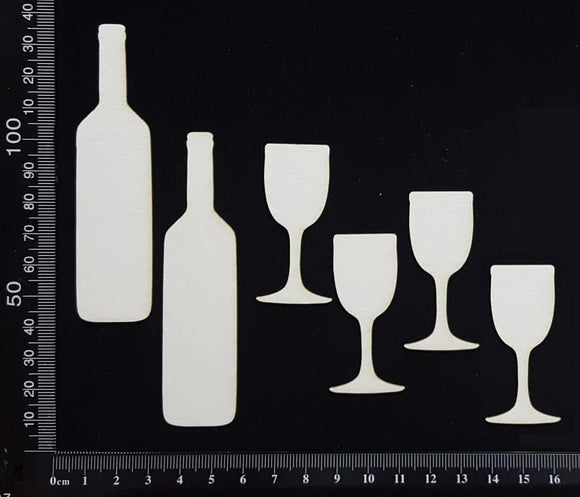 Wine Bottles and Glasses Set - White Chipboard