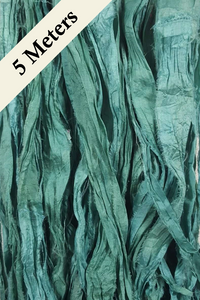 Reclaimed Sari Silk Ribbon - Winter Green - 5m Pack