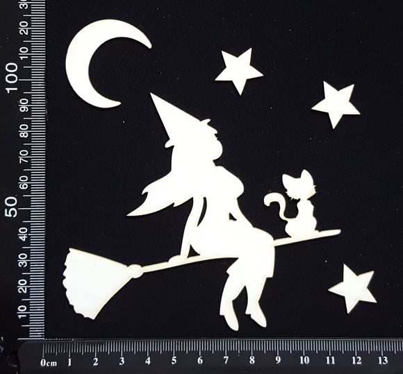 Witch and Cat on Broom - White Chipboard