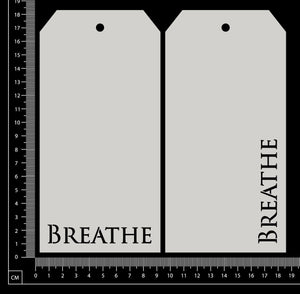 Word Tags - Large - Breathe - White Chipboard