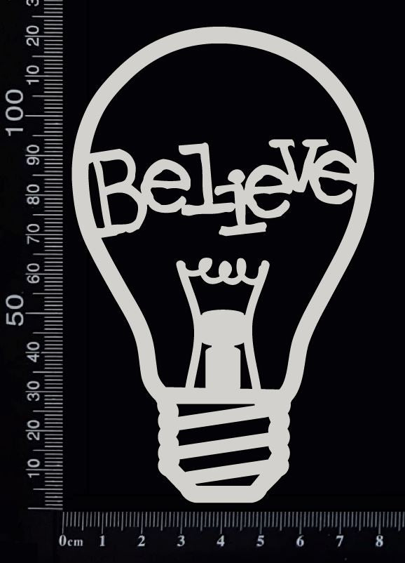 Word Bulb - Believe - C - White Chipboard