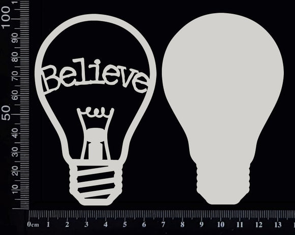 Word Bulb - Believe - E - Layering Set - White Chipboard