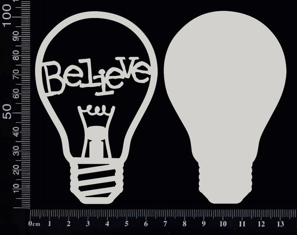 Word Bulb - Believe - F - Layering Set - White Chipboard