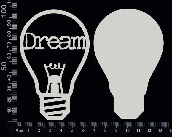 Word Bulb - Dream - D - Layering Set - White Chipboard