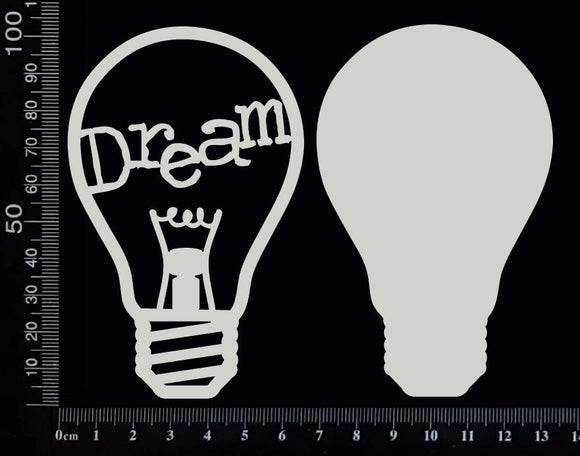 Word Bulb - Dream - F - Layering Set - White Chipboard
