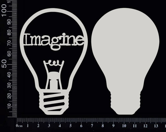 Word Bulb - Imagine - D - Layering Set - White Chipboard