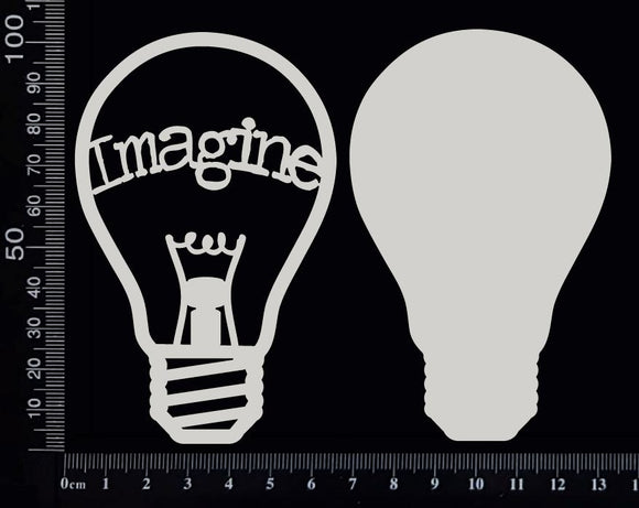 Word Bulb - Imagine - E - Layering Set - White Chipboard