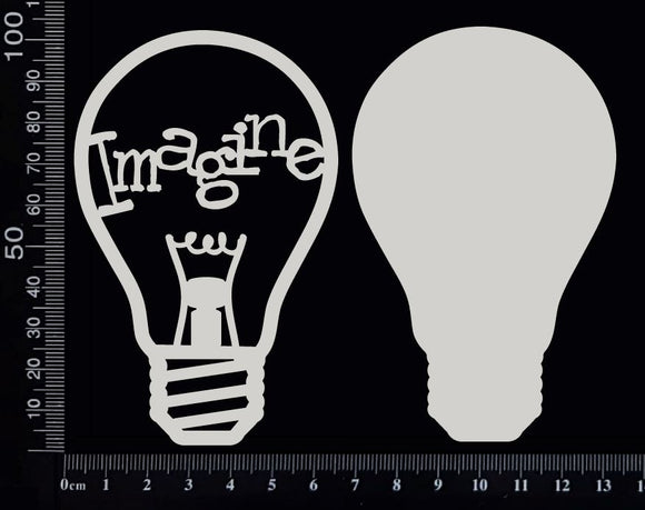 Word Bulb - Imagine - F - Layering Set - White Chipboard