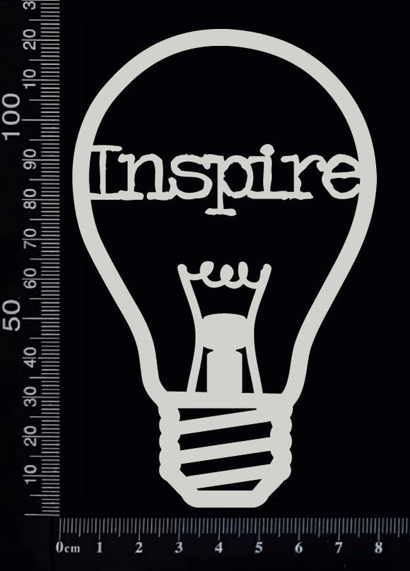 Word Bulb - Inspire - A - White Chipboard