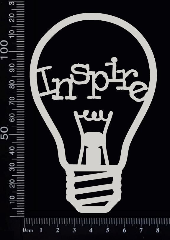 Word Bulb - Inspire - C - White Chipboard