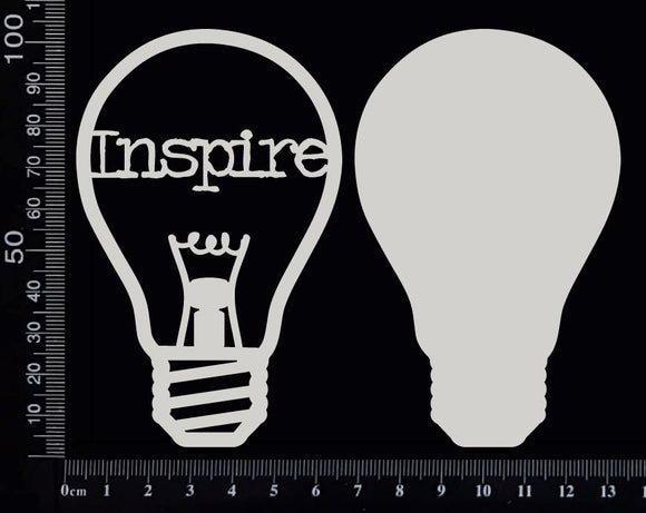 Word Bulb - Inspire - D - Layering Set - White Chipboard