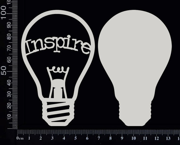 Word Bulb - Inspire - E - Layering Set - White Chipboard